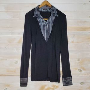 NY&C Blouse V-Neck Button Down